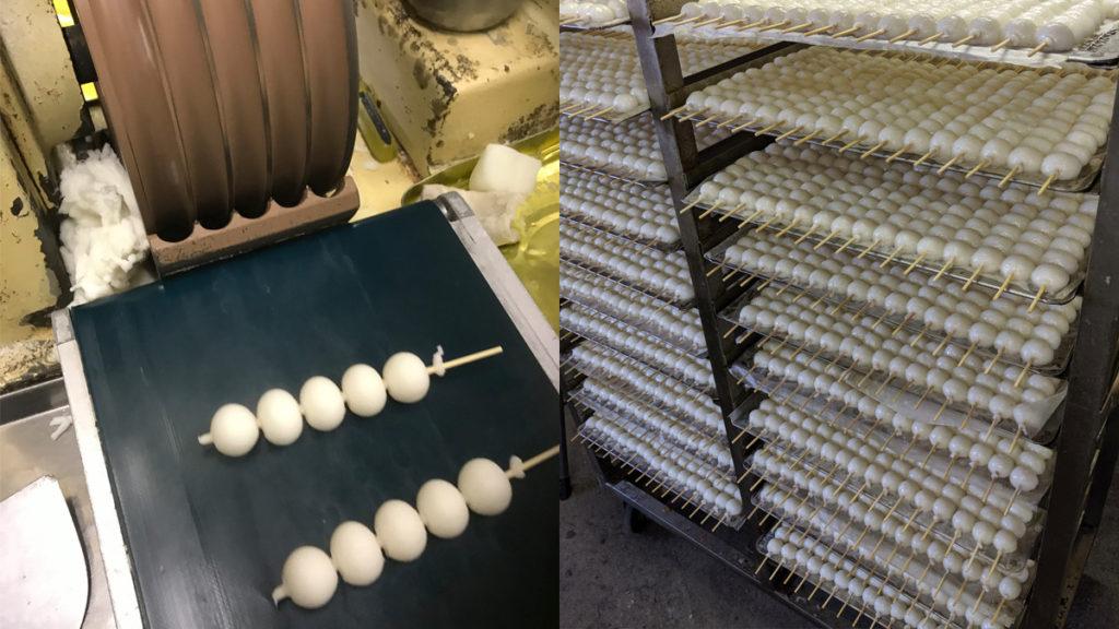 五王製菓のみたらし団子の製造工程